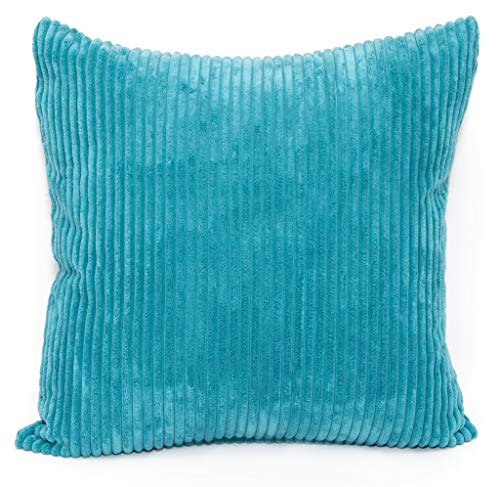 CB Home Large Soft 24in x 24in Chenille Stripe Cushion Cover in Teal