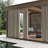 Sun Zero 48956 Beacon Woven Indoor/Outdoor UV Protectant Grommet Curtain Panel, 52' x 84', Linen