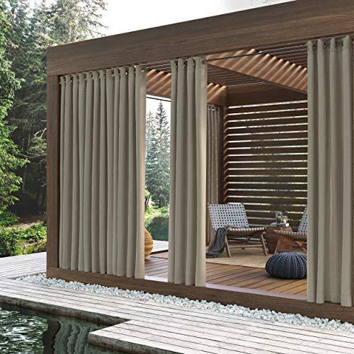 Sun Zero Outdoors Beacon Indoor Outdoor Woven Solid Grommet Single Window Curtain Panel, 52' x 84', Linen