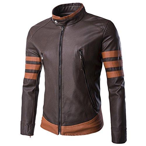 WSLCN X Men Vintage Faux Leather Motorcycle Jacket Brown US M (Asian XXL)