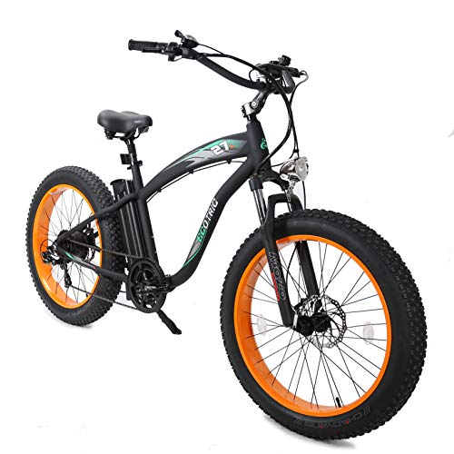 ECOTRIC Powerful Fat Tire Electric Bicycle 26' Aluminium Frame Suspension Fork Beach Snow Ebike Electric Mountain Bicycle 1000W Motor 48V 13AH Removable Lithium Battery (Orange)