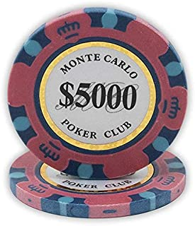 DA VINCI 14 Gram Clay Monte Carlo Poker Club Premium Quality Poker Chips Pack of 50 Chips