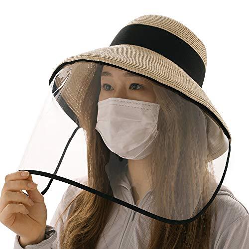 Comhats Damen Faltbarer Multifunktionaler Gesichtsschutz Sonnenhut Abnehmbarer Schild Beige M
