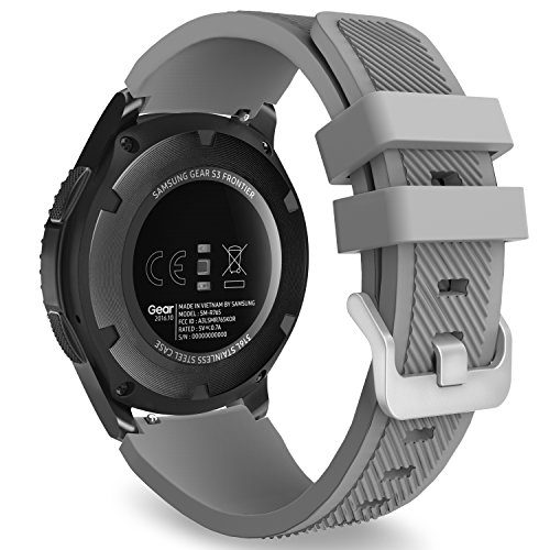MoKo Gear S3 Frontier/S3 Classic/Galaxy Watch 46mm/Huawei Watch GT 46mm/Ticwatch Pro Watch Correa - 22mm Reemplazo Suave Silicona Sport Strap Band - Gris