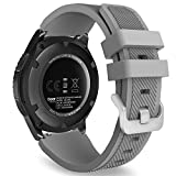 MoKo Band Compatible with Samsung Galaxy Watch 3 45mm/Gear S3 Frontier/Classic/Galaxy Watch 46mm/Huawei Watch GT2 Pro/GT 2e/GT 46mm/GT2 46mm/Ticwatch Pro 3, Silicone Strap Fit 22mm Band, Gray