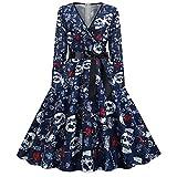 Vestido vintage para mujer de Halloween, estampado, manga larga, cuello en V, con lazo, estilo gótico, negro, elegante, largo hasta la rodilla, para boda, otoño, fiesta, cóctel, para mujer, Blau2, M