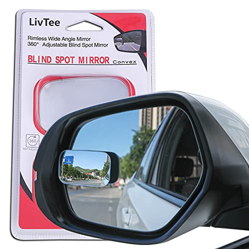 LivTee Blind Spot Mirror, Rectangle Shaped HD Glass Frameless Convex Rear View...