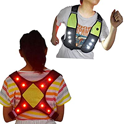 LED Light Up Reflective Running Vest, USB Rechargeable, Machine Washable, Adjustable Waist with Phone Pocket Flashing Motorcycle Vest, Safety Gear & Gifts for Men Women Kids Runners Walking (Kid)