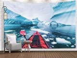 Wall Tapestry,Wall Tapestry,Shorping 80x60Inches Home Art of Cotton for Décor Living Room Dorm in Antarctica between icebergs with inflatable kayak extreme adventure Antarctic Peninsula beautiful pris