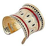 Yazilind Alliage d'argent tonalite Email Blanc Bracelet Manchette de Bracelet Grand: 2,9in Le Punk