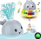Badespielzeug für 2 3 4 5 6 Jahre alte Jungen Mädchen, 2 in 1 elektrisches Induktionswal-Wassersprühspielzeug, Badespielzeug mit Musik und blinkenden Lichtern Badespiel Ballspielzeug für Kleinkinder