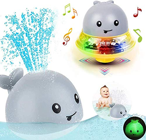 Bath Toys for 3+ years old boys girls ,2 in 1 Electric Induction Whale Water Spray Toy, Bath Fun Toys with Music and Flashing Lights Bathtime Play Ball Bath Toys for Toddlers Kids toys age 3+