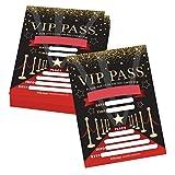 25 VIP Movie Night, Star Faux Glitter Ticket Party Invitation, Hollywood Rockstar Oscar Themed Kids Birthday Invite Ideas, Lanyard Red Carpet Theme Supplies, Boys or Girls Sleepover Bday Printed Cards