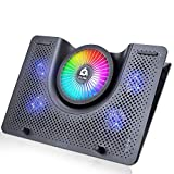 KLIM Nova + Base de refrigeración para portátiles RGB - 11' a 19' + Estable y silenciosa + Panel de Metal + Refrigeración para portátil Gaming Compatible con Mac y PS4 + Nueva 2020