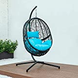 DISENO Plus Single Swing Chair Outdoor Patio Lounge Chair, with All-Steel Support Stand & Base, Complete Set, Including One UV Rated & Waterproof Nylon Fabric Cushion Seat - 3 Colors (Blue)