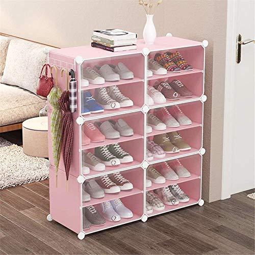 Haushaltsgeräte Tragbare Schuhablage Organizer Schuhkartonlagerung Transparente Montage Wirtschaftlich staubdicht Mehrschichtiger Kunststoff-Hall-Schuhschrank Leicht, aber stabil (Farbe: Pink Größe