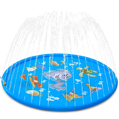 "ALWOA Splash Pad, 68""Kids Sprinkler Pad for 1 2 3 4 5 Year Old Toodler Children Boys Girls, Inflatable Shark Water Toys Fun for Outdoor, Upgraded Sprinkle & Splash Play Mat with Wading Pool"