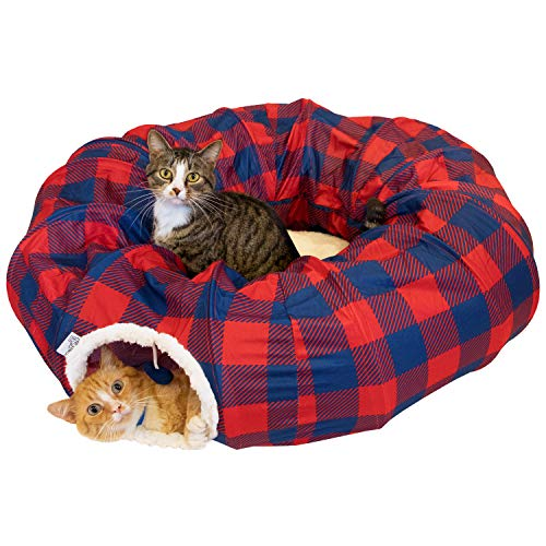 Kitty City Large Plaid Cat Tunnel Bed, Cat Toy - for Cat and Kitten, Red (CM-10094-CS01)