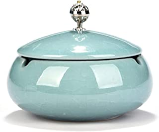 Ashtray Tabletop Ash Tray Creative Personality Ceramic Ashtray Bedroom Desk Living Room Office Ashtray Birthday Gift for Boyfriend With Lid Ashtray Large Ash Holder (Color : Light blue)