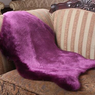 KOOCO Alfombra Peluda Piel de Borrego Silla Dormitorio Cubierta Faux Mat la Almohadilla del Asiento de Piel Normal Normal de Pieles mullidas alfombras Lavables Textiles Artificiales, Púrpura