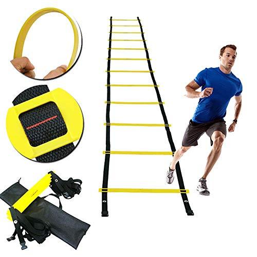 ZMXZMQ Speed Ladder - Oefening Sportuitrusting, Meerdere lengtes Voetbal Snelheid En behendigheid Ladder - Wordt geleverd met Draagtas