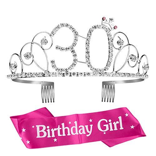 ZWOOS 30 Anni Birthday Corona Compleanno Compleanno Ragazza Glitter Decor Cristallo con Fascia Compleanno di Compleanno Donna Tiara per Feste di Compleanno