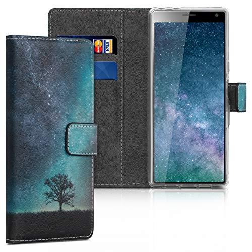 kwmobile Sony Xperia 10 Hülle - Kunstleder Wallet Case für Sony Xperia 10 mit Kartenfächern & Stand - Galaxie Baum Wiese Design Blau Grau Schwarz