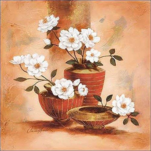 Keilrahmen-Bild - Claudia Ancilotti: Emanuele Leinwandbild Stillleben modern floral Blumen (80x80)