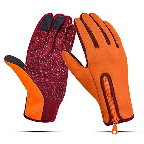 Gants imperméables Unisexes à écran Tactile pour vélo de vélo Gants à Doigts complets Coupe-Vent Vélo VTT Gants de Sport Hommes Femmes S-XL - Orange, L