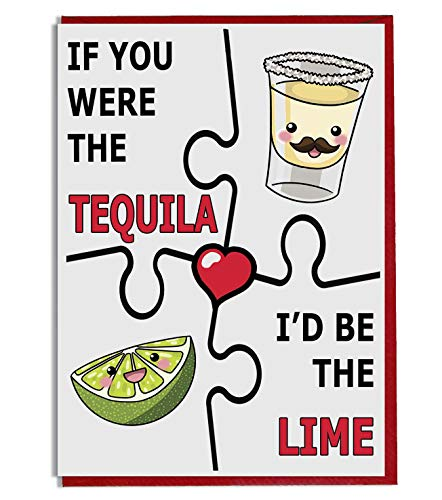 A5 Verjaardag/Valentijnsdag/Liefde/Verjaardagskaart voor Hem of haar - Tequila en Lime