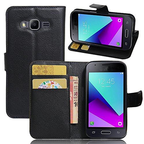 EUGO Funda Samsung Galaxy J1 Mini Prime + Protector de Pantalla, Funda Cuero Resistente, Soporte Plegable, Ranuras para Tarjetas y Billetes, Estilo Libro, Acceso a Botones
