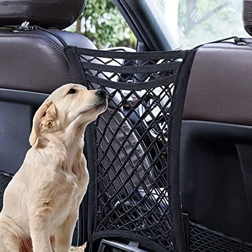 Einesin Autositz Aufbewahrungsnetz, Carlestic, 3-Schicht Autonetz mit 2 Taschen, Hundenetz Auto mit Haken & Dehnbares Mesh-hindernis, Design zur Vermeidung von Störungen Durch Haustiere/Kinder