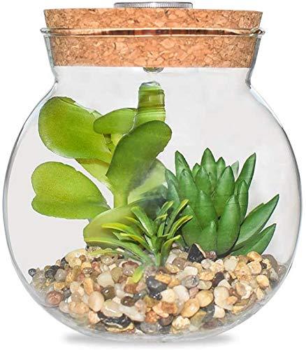 Vaso in vetro con luce LED e piante grasse finte soffiato a mano con globo artificiale globo terrario con fiori per feste di nozze e vacanze Decor Centrotavola (stile B)