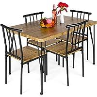 5-Pieces BCP Metal and Wood Modern Rectangular Dining Table Set