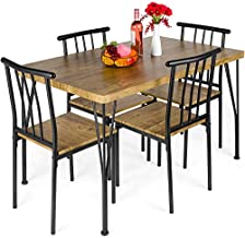Best Choice Products 5-Piece Metal and Wood Indoor Modern Rectangular Dining Table Furniture Set for Kitchen, Dining Room, Dinette, Breakfast Nook w/ 4 Chairs - Brown