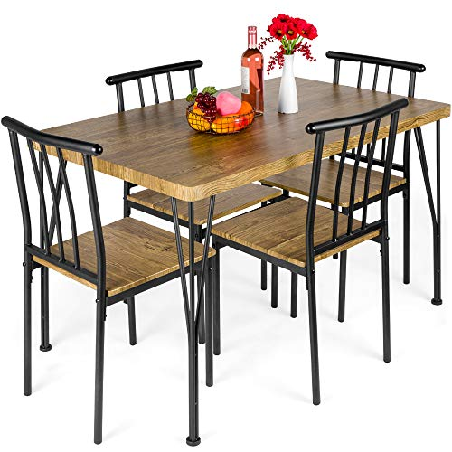 Best Choice Products 5-Piece Metal and Wood Indoor Modern Rectangular Dining Table Furniture Set for Kitchen, Dining Room, Dinette, Breakfast Nook w/ 4 Chairs, Brown
