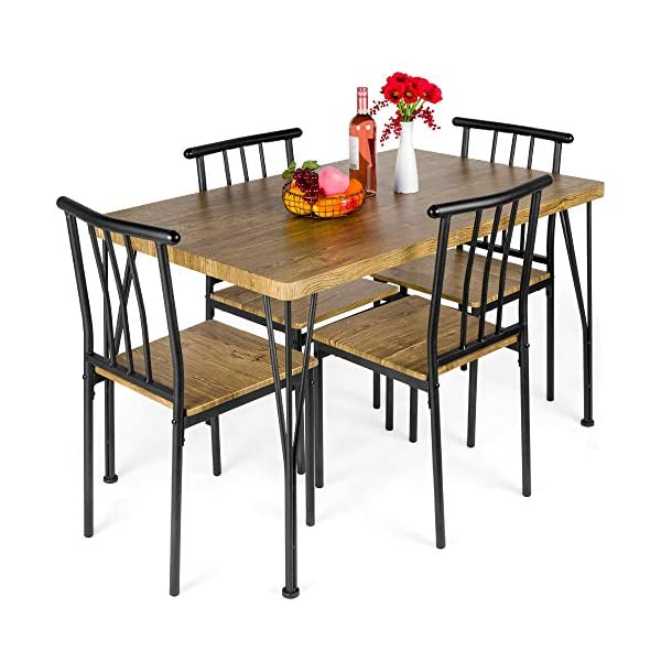 Best Choice Products 5-Piece Indoor Modern Metal and Wood Rectangular Dining Table...