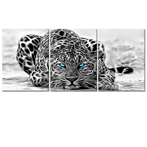 Welmeco Black and White Abstract Leopard with Blue Eyes Animals Wall Art Decor Portrait Wildlife Pictures Canvas Prints Poster Ready to Hang for Room Decoration (03)