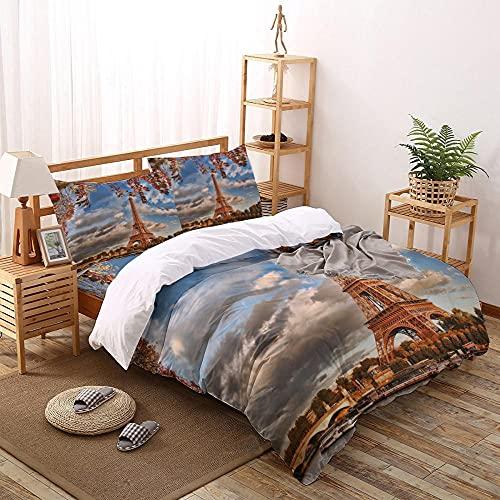 OTNYHBJ Bettwäsche Bettbezug Set Blauer weißer gelber Turm 155x220 cm Mikrofaser Bettbezug, Bettbezüge Set mit Reißverschluss, 2 Kopfkissenbezüge