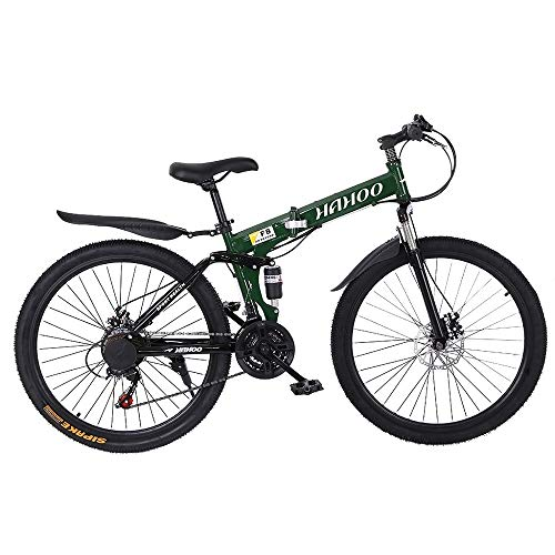 26 Inch, 21 Speed Folding Mountain Bike with Dual Disc Brakes, Non-Slip Full Suspension Geared Bicycle for Man Adult and Young Teens (Green)