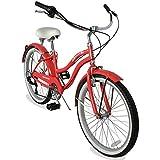 Micargi Tahiti 7SP 24 Inch Women's Beach Cruiser Bike Shimano 7 Speed Hi-Ten Steel Frame City Bike Classic Road Outdoor Bicycle (24' - Coral)
