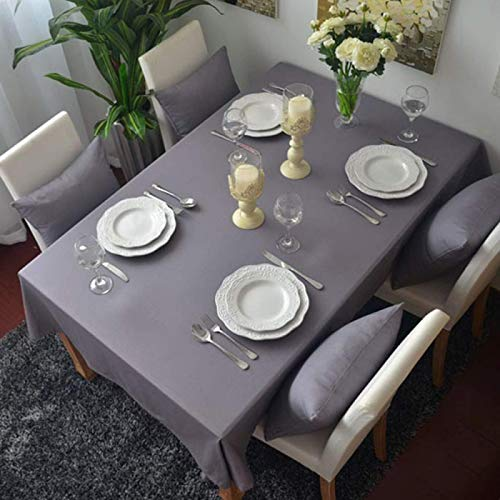HTUO Home Grey Tablecloth Wipe Clean Rectangular Christmas Decoration Washable Table Cover Protector Textile Backing Buffet Table Parties Holiday Dinner Dust Proof Table Cover 100 * 140cm