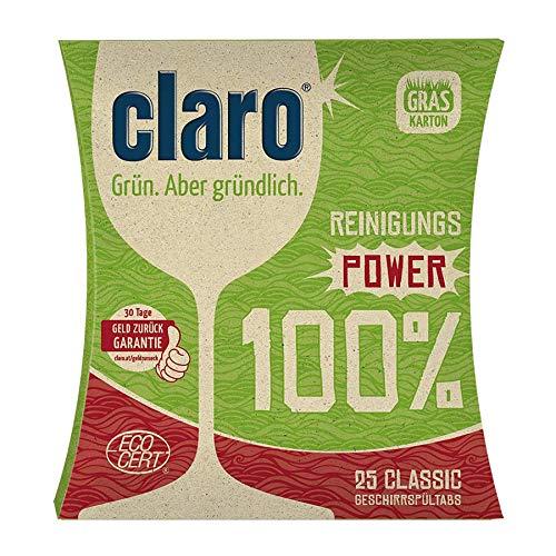 CLARO Geschirrspültabs Classic 400 g (100{7d1d44e0dbaee8d418021d02d17b8700dd55d1ff6a7a0225686787c483dd31ab} Zero Waste)
