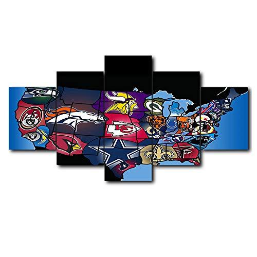 Loveygg Leinwandbild 5 Teilig Kunstdruck Modern Wandbilder Wanddekoration Design Wand Bild Abstrakt Gemälde Bilder Geschenke-NFL American Football,150x80cm