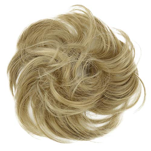 PRETTYSHOP Scrunchie Bun Up Do Hair piece Hair Ribbon Ponytail Extensions Wavy Curly or Messy Various Colors (blonde 25)