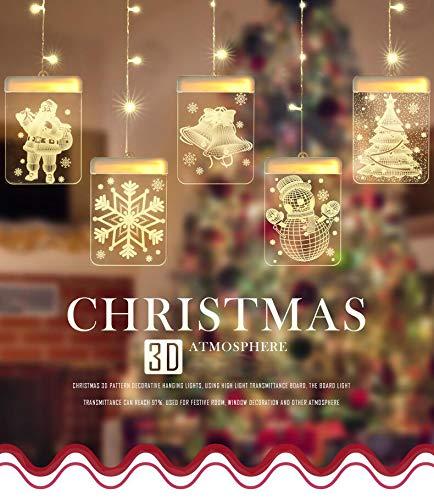 Lypumso LED USB Lichtervorhang, LED Lichterkette 5 Lichter mit Weihnachtsmotiven, Innen-und Außendekoration, passend für Weihnachtsdekorationen, verschiedene party