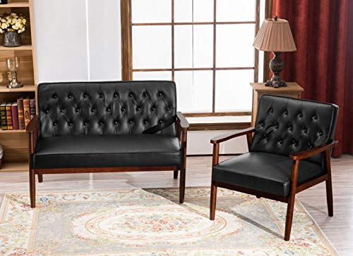 RELAXIXI Mid-Century Retro Modern Living Room Sofa Set with Loveseat and Seating Sofa Chair, Couch and Lounge Chairs