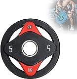 FGVDJ Placas de Pesas Profesionales para Fitness con 4 agarres, Disco de Hierro con Barra olímpica para Gimnasio en casa, Placas de Concha de PU, Equipo de entrenamie