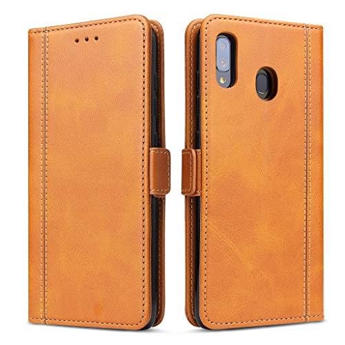 Bozon Handyhülle für Galaxy A40, Lederhülle mit Kartenfächer, Schutzhülle mit Standfunktion, Klapphülle Tasche für Samsung Galaxy A40 (Braun)