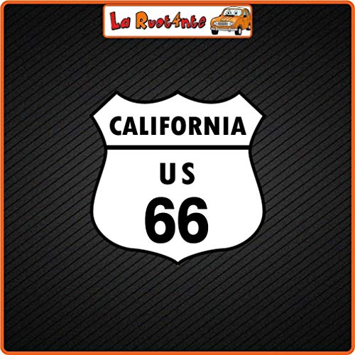 La Ruotante 2 Stickers California US 66 (Vinyl) Auto Motorbike Vespa Fietshelm koffer 20x20 Cm
